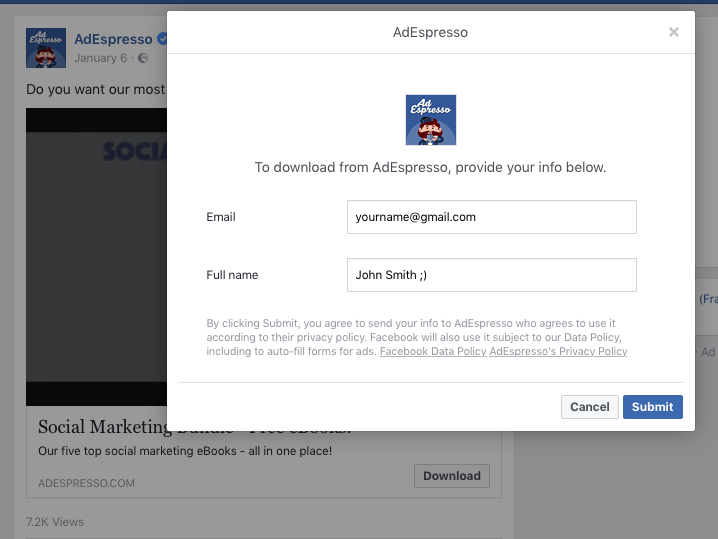 facebook voorbeeld van leadadvertentie