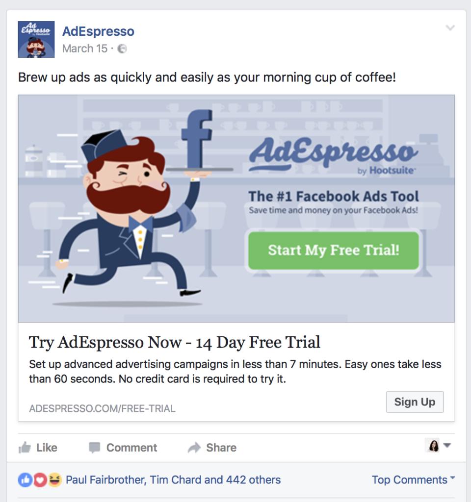 AdEspresso Facebook ad