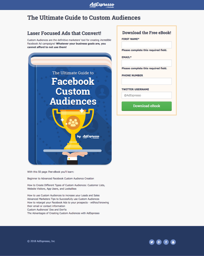 facebook ad copy length - adespresso experiment - goal