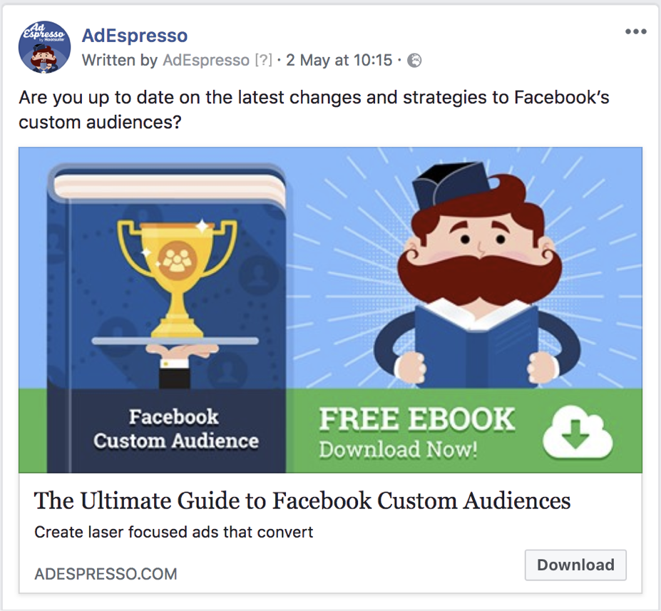 facebook ad copy length - adespresso experiment text example 2