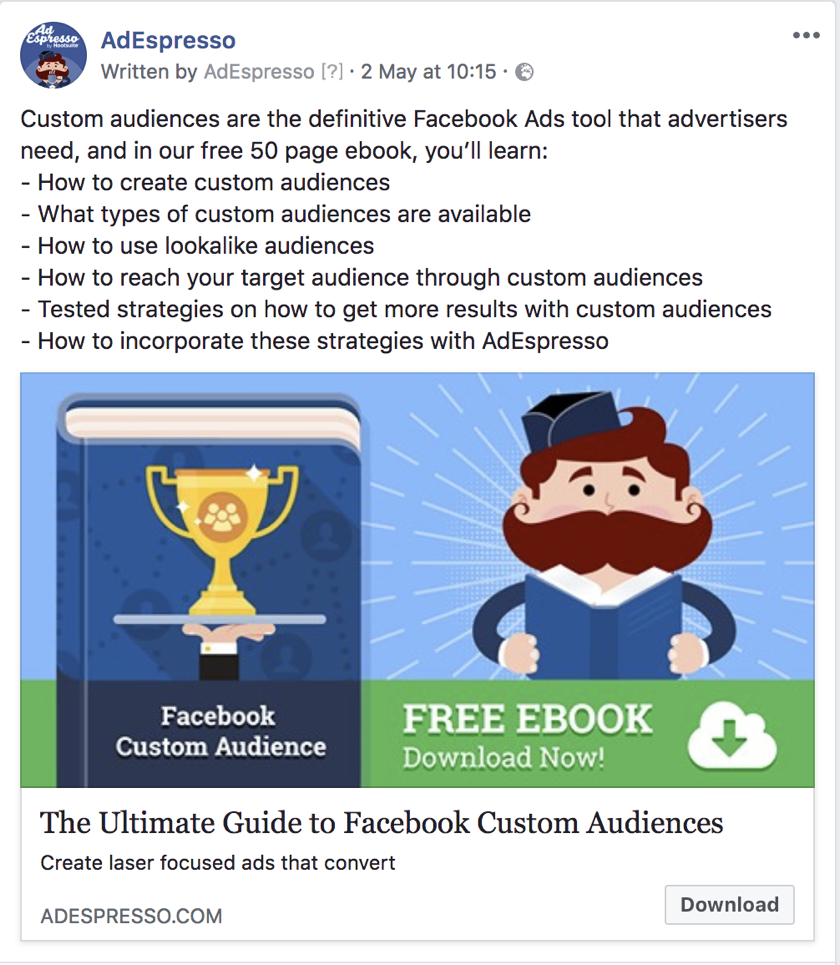 facebook ad copy length - adespresso experiment text example 3