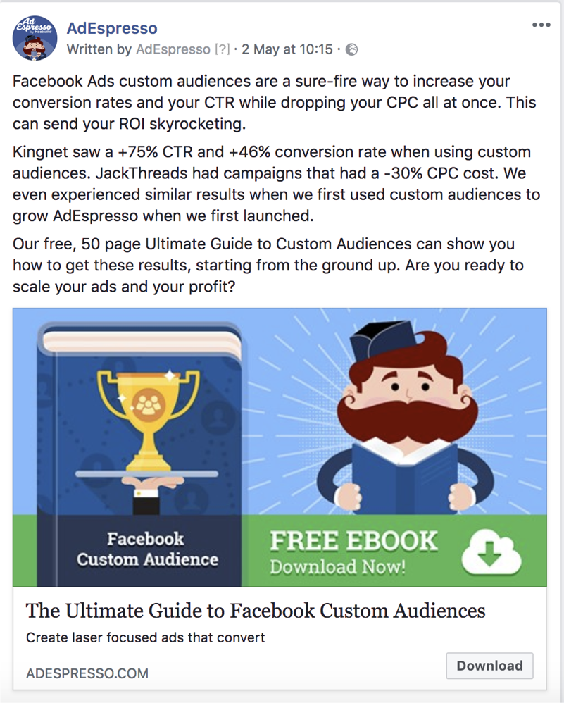 facebook ad copy length - adespresso experiment text example 6