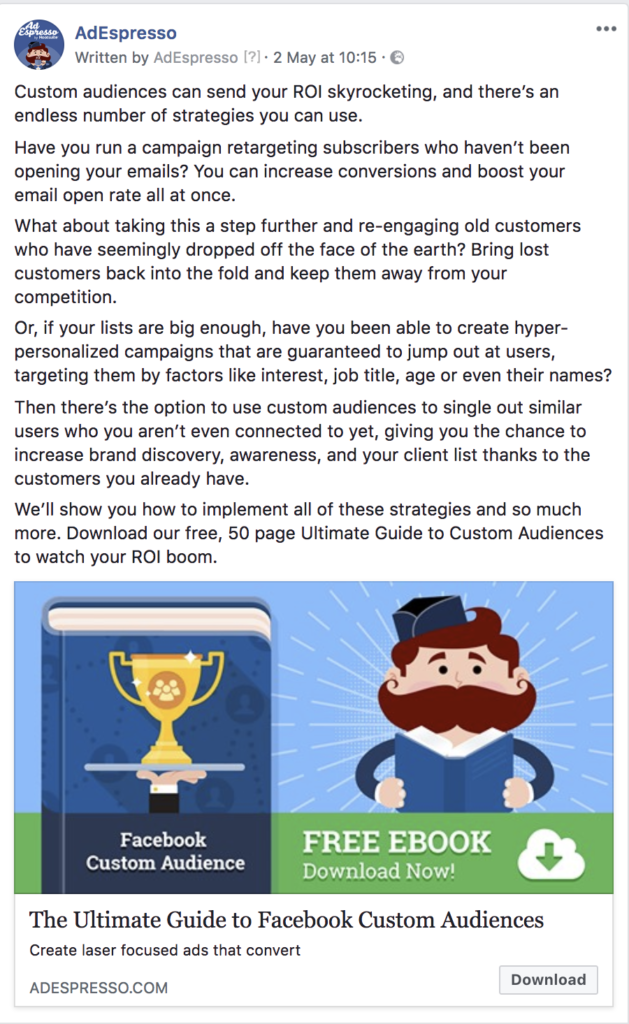 facebook ad copy length - adespresso experiment text example 7