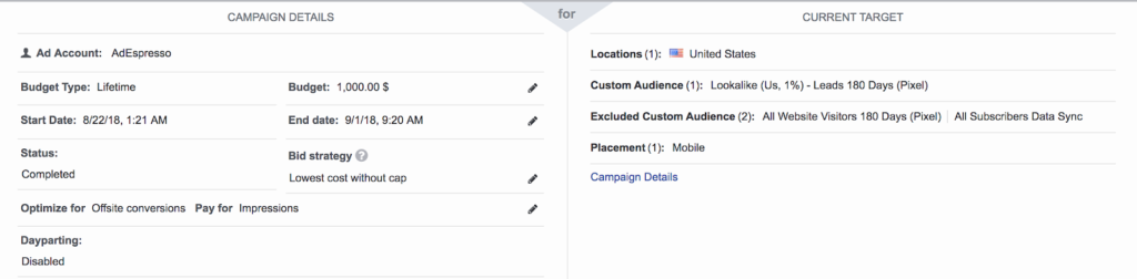 Facebook best CTA experiment ads details