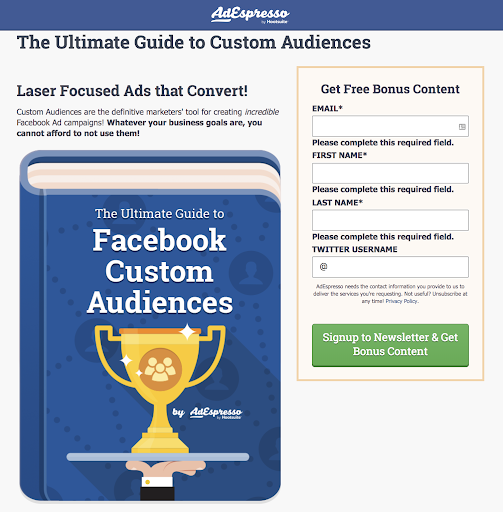 Best CTA for Facebook Ads AdEspresso experiment landing page