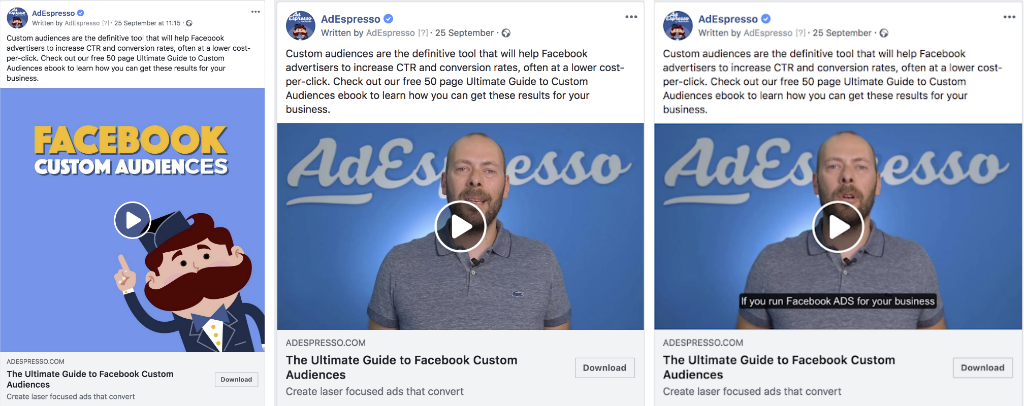 Best Facebook Video Ad Format Experiment examples