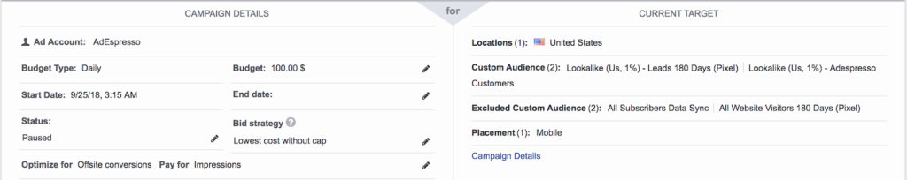 Best Facebook Video Ad Format Experiment - experiment setup